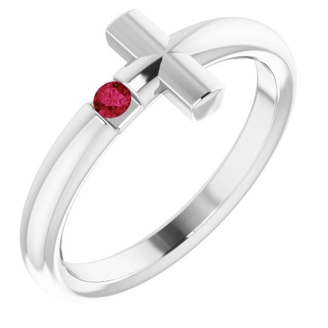 Sterling Silver Ruby Sideways Cross Ring