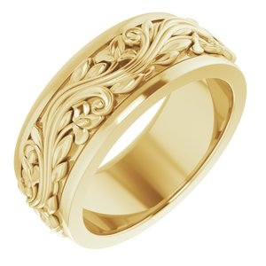 14K Yellow 7 mm Sculptural-Inspired Band Size 5.5