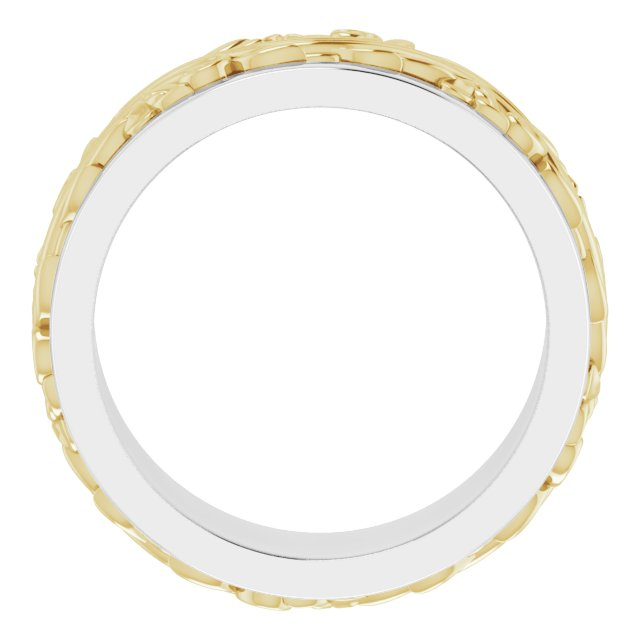 14K White/Yellow 7 mm Sculptural-Inspired Wedding Band Size 6