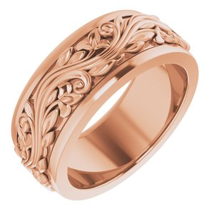 14K Rose 7 mm Scroll Band   Size 5