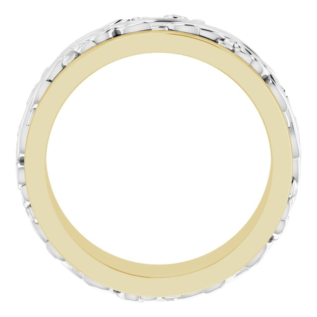 10K Yellow/White 7 mm Sculptural-Inspired Band Size 12.5