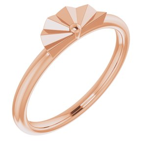14K Rose Starburst Stackable Ring