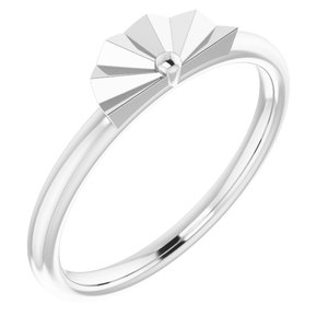 14K White Starburst Stackable Ring