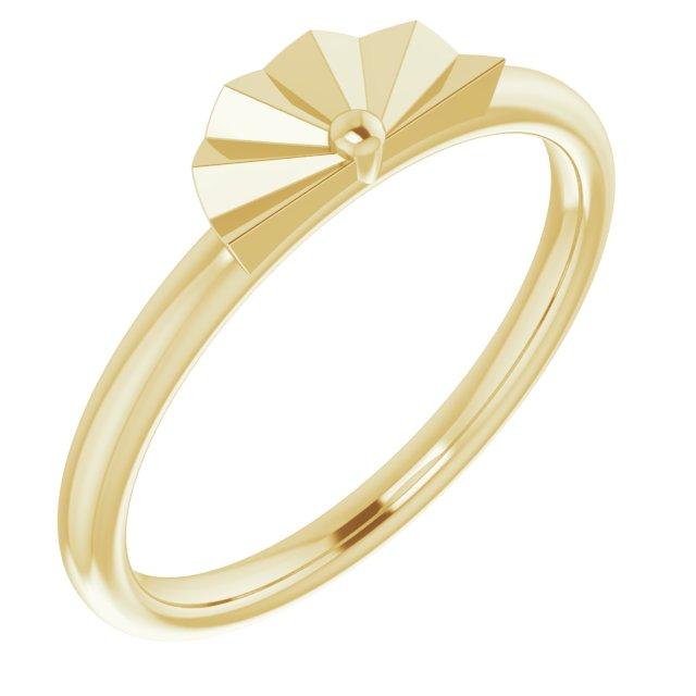 14K Yellow Starburst Stackable Ring