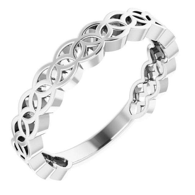 14K White Geometric Stackable Ring