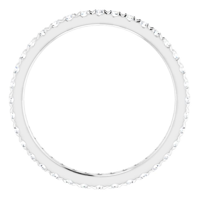 14K White 1/2 CTW French Set Diamond Eternity Band Size 6
