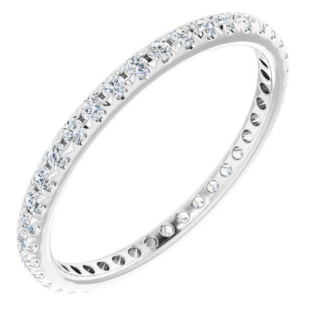 14K White 1/2 CTW French Set Diamond Eternity Band Size 8