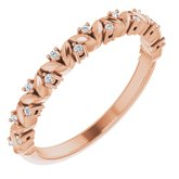 14K Rose .07 CTW Diamond Leaf Stackable Ring