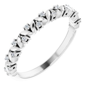 14K White .07 CTW Diamond Leaf Stackable Ring