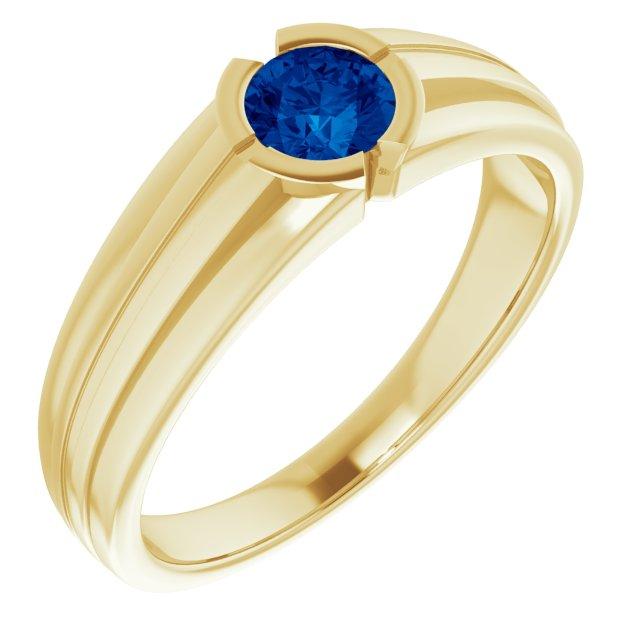 14K Yellow Lab-Grown Blue Sapphire Ring