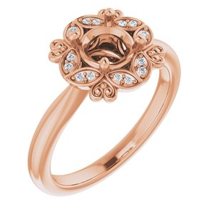 14K Rose Chatham® Created Blue Sapphire & .04 CTW Diamond Ring