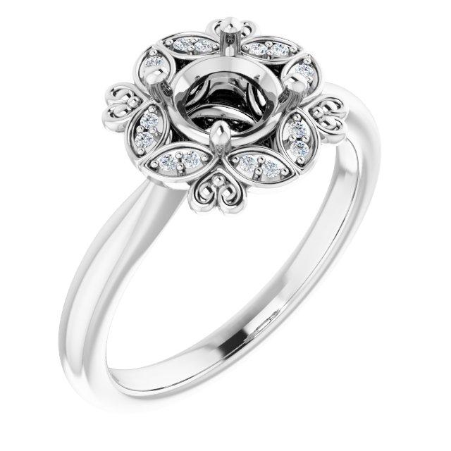 14K White Chatham® Created Blue Sapphire & .04 CTW Diamond Ring