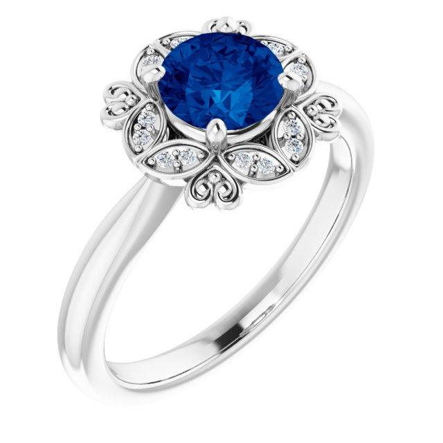 14K White Lab-Grown Blue Sapphire & .04 CTW Diamond Ring