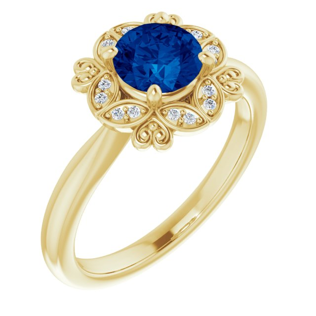 14K Yellow Lab-Grown Blue Sapphire & .04 CTW Diamond Ring