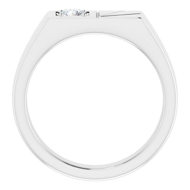 14K White 1/3 CT Diamond Men-s Ring