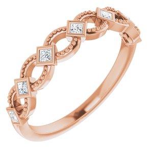14K Rose 1/6 CTW Diamond Stackable Ring