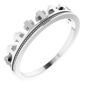 Platinum Cross Crown Ring