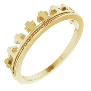 14K Yellow Cross Crown Ring