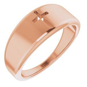 14K Rose Pierced Cross Ring