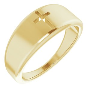 14K Yellow Pierced Cross Ring
