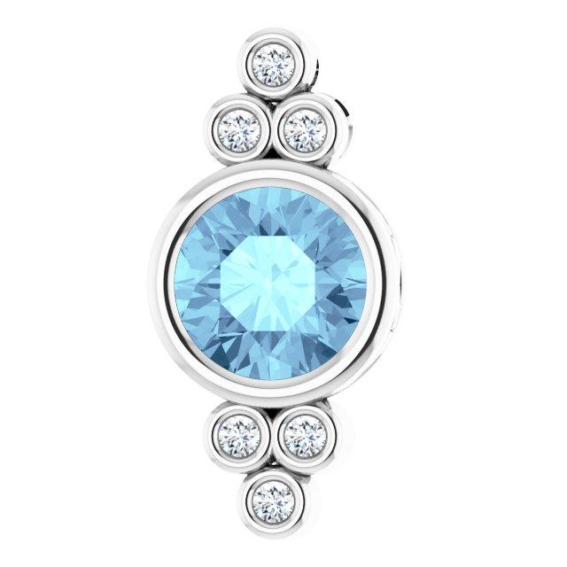 14K White Aquamarine & .06 CTW Diamond Pendant