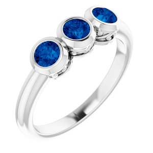 14K White Chatham® Created Blue Sapphire Three-Stone Bezel-Set Ring