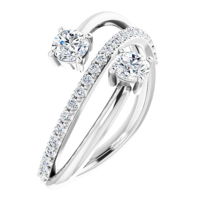 14K White 3/4 CTW Diamond Two-Stone Bypass Ring