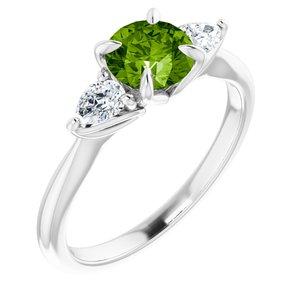 14K White Peridot & 1/4 CTW Diamond Ring