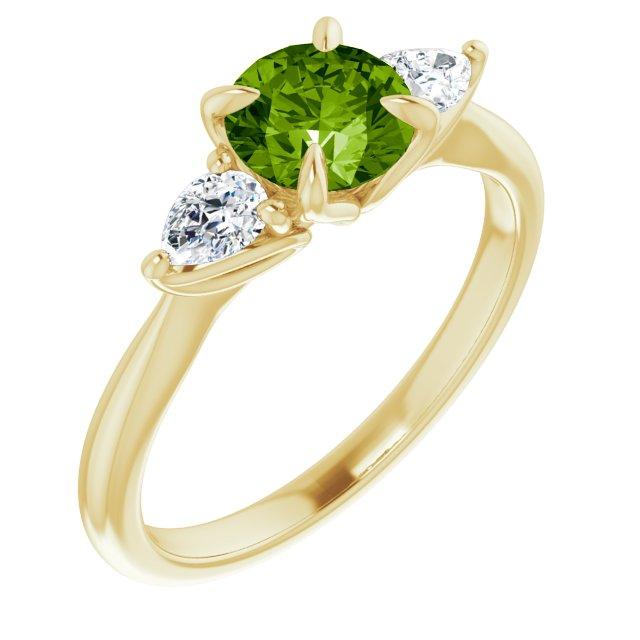 14K Yellow Peridot & 1/4 CTW Diamond Ring