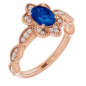 14K Rose Lab-Grown Blue Sapphire & 1/8 CTW Diamond Ring