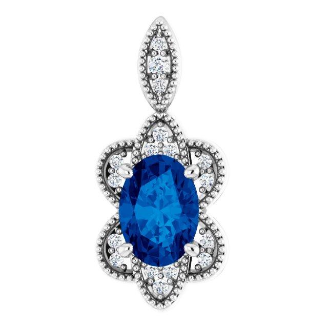 14K White Blue Sapphire & .06 CTW Diamond Pendant