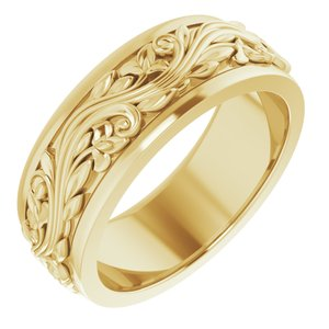 14K Yellow 7 mm Sculptural-Inspired Band Size 7.5