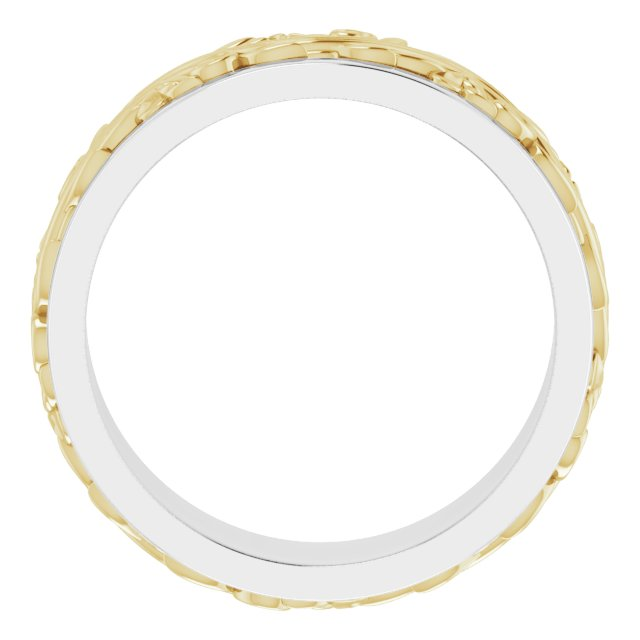 14K White/Yellow 7 mm Sculptural-Inspired Band Size 9.5