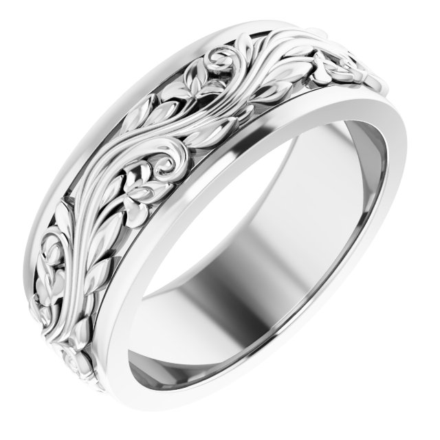 14K White 7 mm Sculptural-Inspired Band Size 8