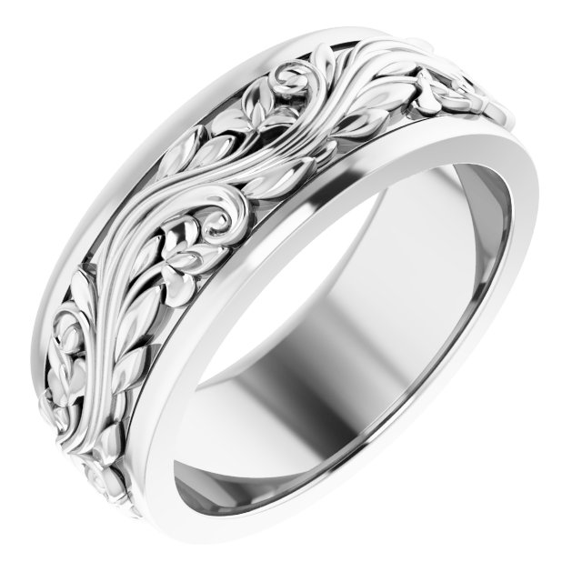 14K White 7 mm Sculptural-Inspired Band Size 7