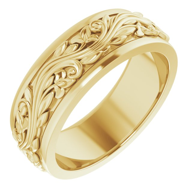 14K Yellow 7 mm Sculptural-Inspired Band Size 8.5