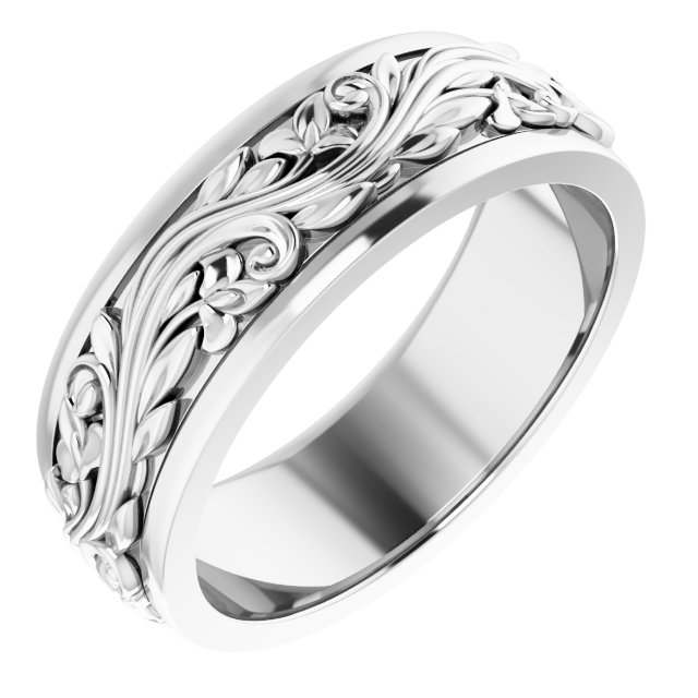 Sterling Silver 7 mm Sculptural-Inspired Wedding Band Size 9.5