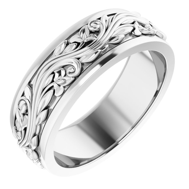 Sterling Silver 7 mm Sculptural-Inspired Wedding Band Size 9