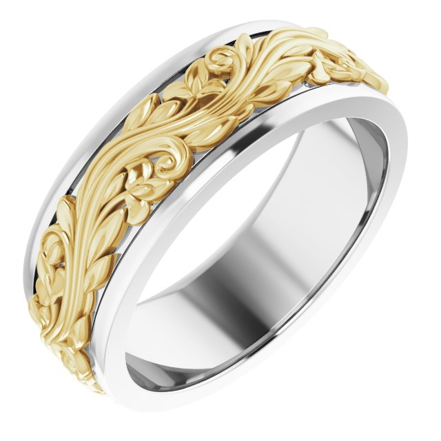 14K White/Yellow 7 mm Sculptural-Inspired Band Size 9