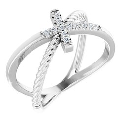Accented Cross Rope Ring
