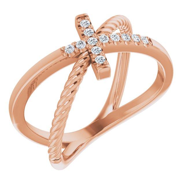 14K Rose 1/10 CTW Diamond Cross Rope Ring