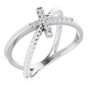 14K White 1/10 CTW Diamond Cross Rope Ring