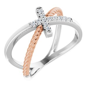 14K White & Rose 1/10 CTW Diamond Cross Rope Ring