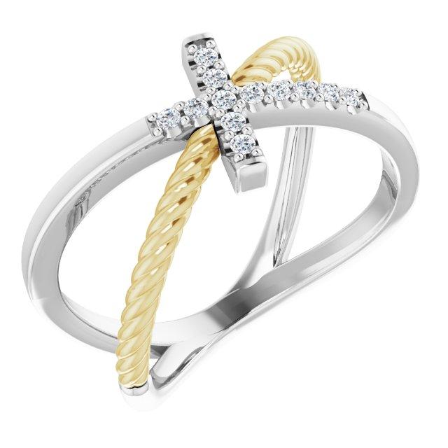 14K White & Yellow 1/10 CTW Diamond Cross Rope Ring