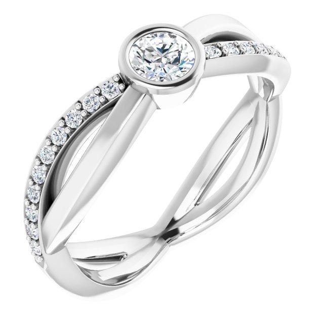 14K White 4.1 mm Round 3/8 CTW Diamond Infinity-Inspired Ring