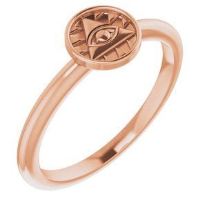 14K Rose Stackable Eye of Providence Ring