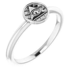 14K White Stackable Eye of Providence Ring