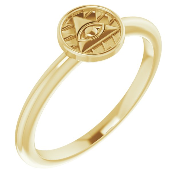 14K Yellow Stackable Eye of Providence Ring