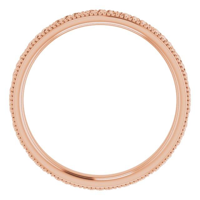 14K Rose 3 mm Celtic-Inspired Milgrain Band Size 7