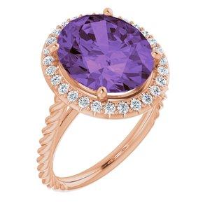 14K Rose Amethyst & 1/4 CTW Diamond Ring